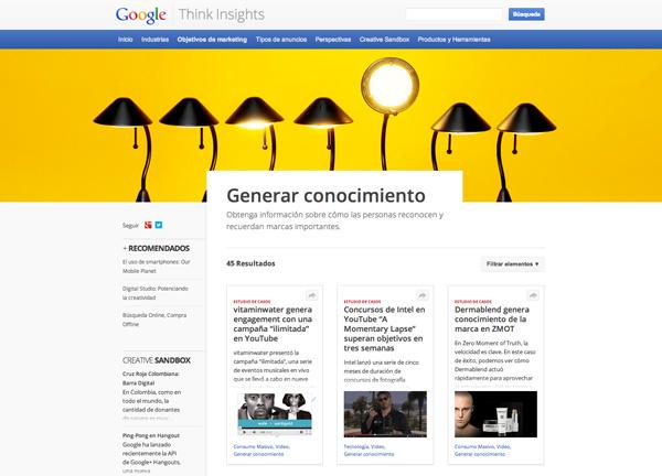 Think Insights, marketing de contenido de Google para marketing digital