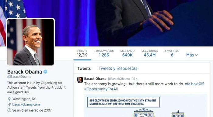 Bio de Twitter Barack Obama