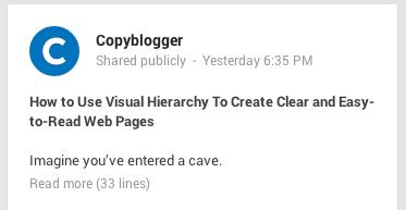 Extension de un post en Google+