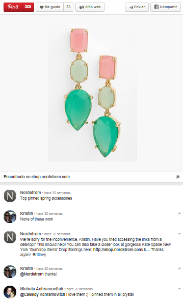 Nordstrom pin ejemplo