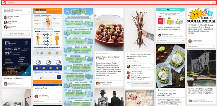 Pinterest feed barra de busqueda