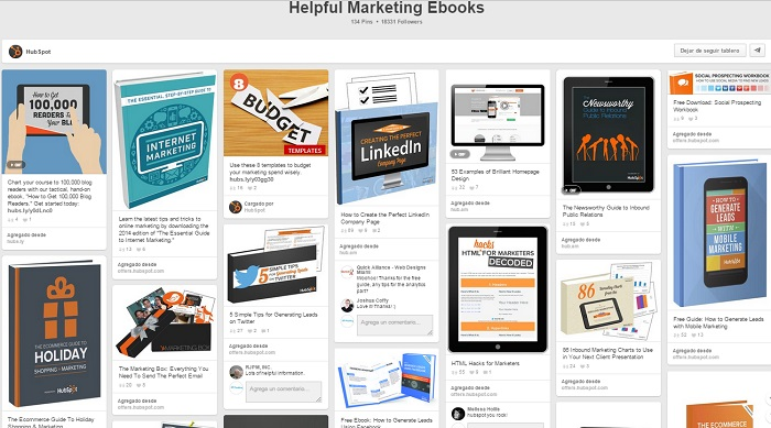 Tablero Helpful Marketing Ebooks HubSpot