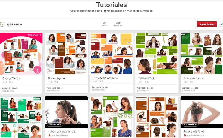 Tablero Tutoriales de Sedal Mexico