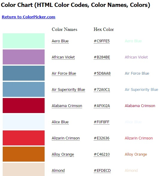 Colorpicker-Color-Chart