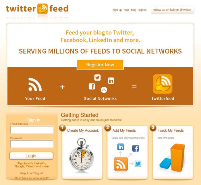 Como distribuir contenido. Twitterfeed.
