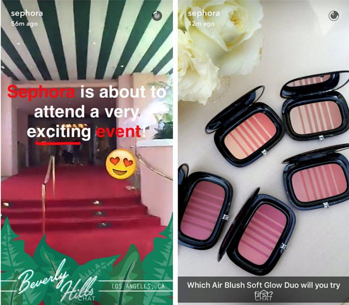Sephora's Snapchats