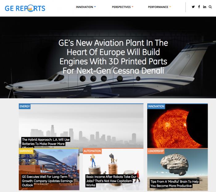 GE - Ejemplo marketing contenidos