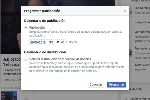 Programar posts en Facebook