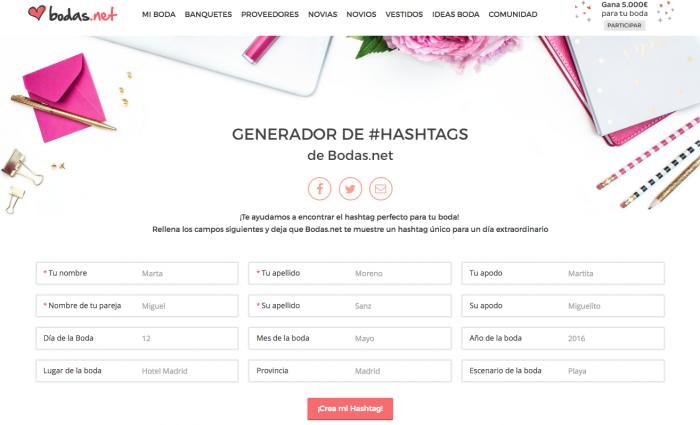 Generador de hashtags para boda