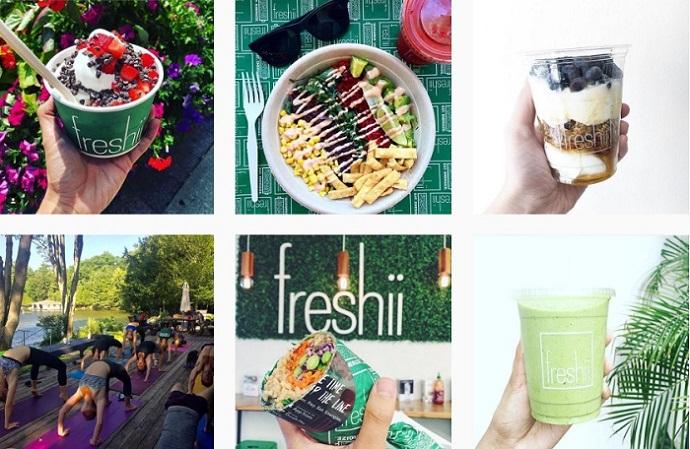 Ejemplo de incluir el logo en fotos por Freshii en Instagram